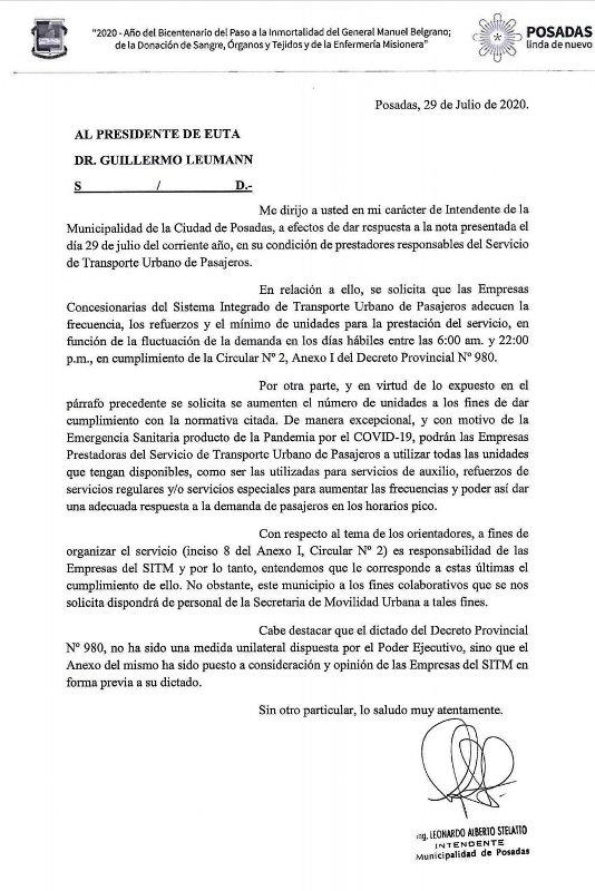 Transporte Público: el Intendente de Posadas reclamó por frecuencias, refuerzos y mínimo de unidades a la EUTA